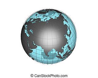 3d, globo, con, asia
