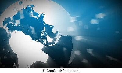 3d, globo, giramento