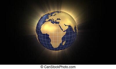 3d, globo girando, unfolds, em, china, mapa