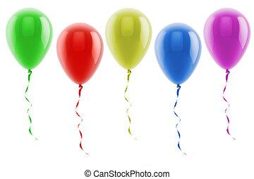 3d, globos coloridos
