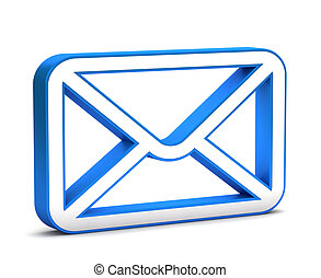 3d glossy blue mail icon on a white background