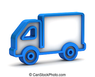 3d glossy blue truck icon button on a white background