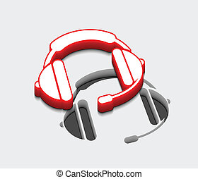 headphones icon - 3d glossy headphones icon, red isolated on...
