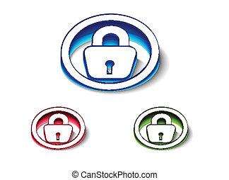 3d glossy lock icon