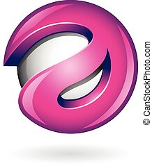 3d Glossy Magenta Logo Shape