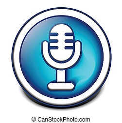 3d glossy mic icon, blue isolated on black background.