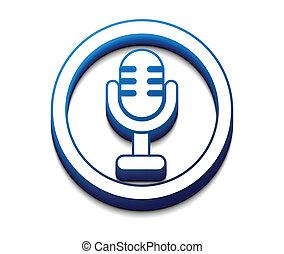 3d glossy mic icon, vector illustration.