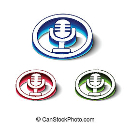3d glossy mic icon