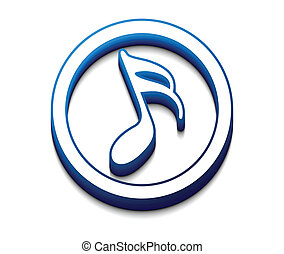 3d glossy music notes icon