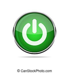 3D glossy POWER button. Vector illustration.