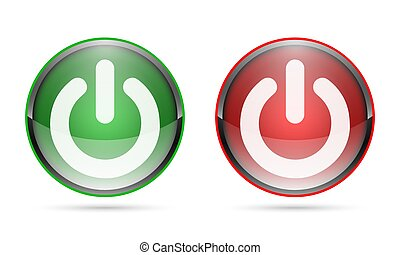 3D glossy Power buttons. Vector illustration.
