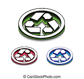 3d glossy recycle icon