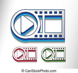 3d glossy video play icon