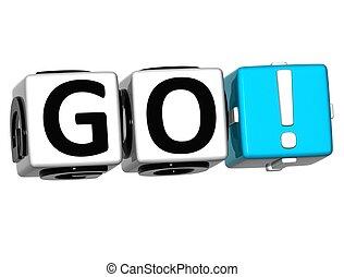 3D Go Block Text on white