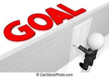 3D goal concept, businessman