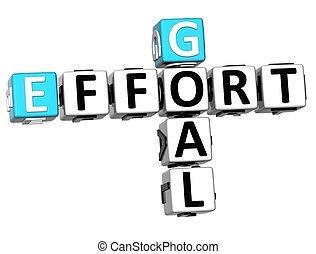 3D Goal Effort Crossword on white background