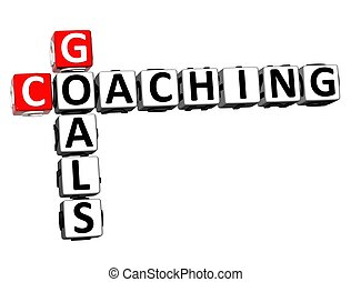 3D Goals Coaching Crossword on white background
