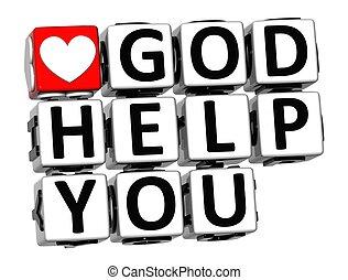 3D God Help You Button Click Here Block Text