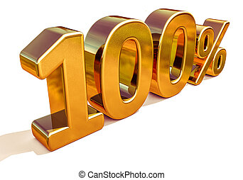 3d Gold 100 Hundred Percent Discount Sign