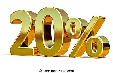 3d Gold 20 Twenty Percent Discount Sign