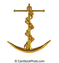 3d Gold anchor with chain