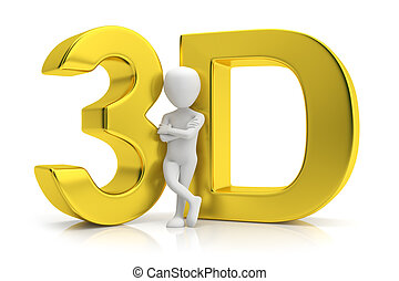 3D gold and human. 3d image. On a white background