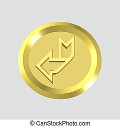 gold arrow icon - 3d gold arrow icon - computer generated
