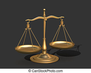 3d gold balance, the scales of justice - 3d Model of gold...