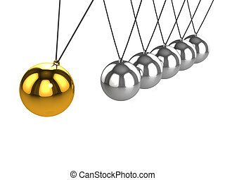 3d Gold ball on Newtons Cradle - 3d render of a golden ball...