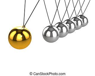 3d Gold ball on Newtons Cradle - 3d render of a golden ball...