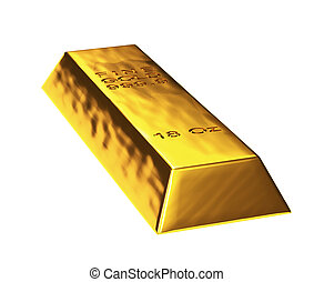 3d gold bar in white background