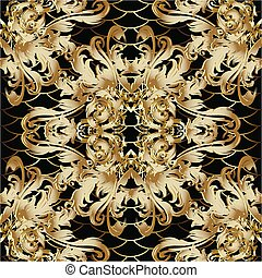 3d gold Baroque vector seamless pattern.
