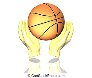 3d gold basketball isolated on a white