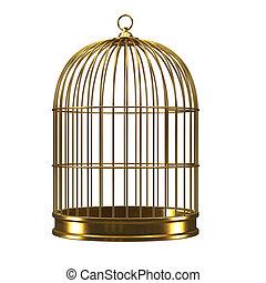 3d Gold birdcage - 3d render of a golden birdcage