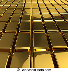 3d Gold bullion - 3d render of gold bars