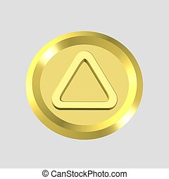 caution icon - 3d gold caution icon - computer generated