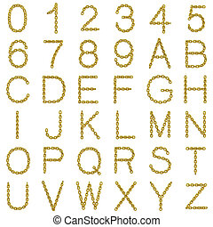 3d Gold chain font and numbers