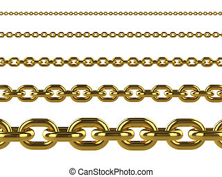 3d Gold chains of various sizes
