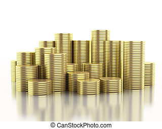 3d illustration. Gold coins on isolated white background.