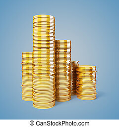 3d gold coins on white background