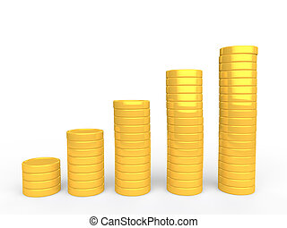 3d gold coins stack