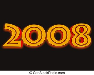 2008 - 3D gold colored text of year 2008 representation