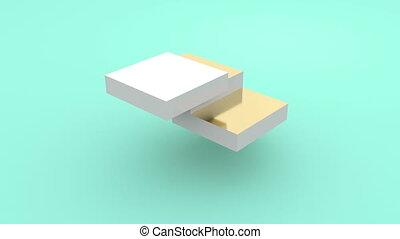 3d gold cube puzzle. Business concept. Construction concept. Business solution.