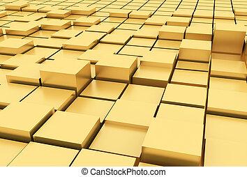 3d  Gold cubes
