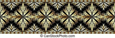 3d gold decorative seamless border pattern.