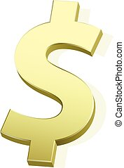 3D gold dollar sign vector