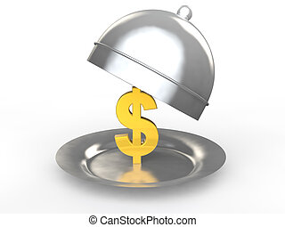 3d gold dollar symbol in a dish