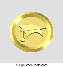 gold education icon - 3d gold education icon - computer ...
