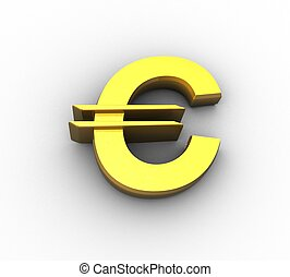 3d gold euro symbol in isolation