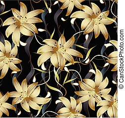 3d gold floral seamless pattern. Abstract floral black vector ba
